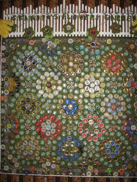 Grandpa's Flower Garden Quilt (Beer blooms beautifully this time of year)